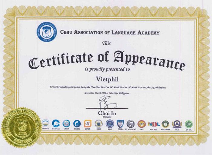 Chứng nhận đối tác của hiệp hội Anh ngữ CALA