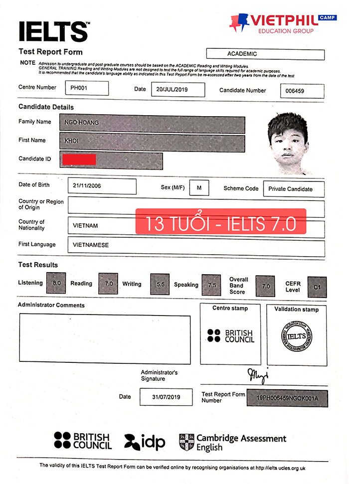 Luyen thi IELTS tai Philippines Ngo Hoang Khoi