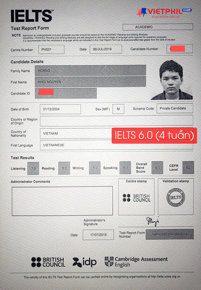 Luyen thi IELTS tai Philippines Hoang Khoi Nguyen